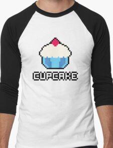 8-Bit Cupcake [Blue] Men's Baseball ¾ T-Shirt