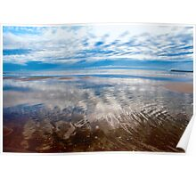 Cloud reflections at low tide Poster