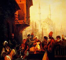 coffee house by the ortaköy mosque in constantinople 1846 by Adam Asar