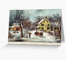 curriver ives American homestead winter Greeting Card
