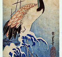 crane in waves 1835 by Adam Asar