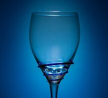 Empty Wine Glass - Blue by broomhillphoto