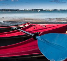 red kayaks by Anne Scantlebury