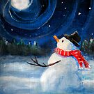 Snowman Gazes at Night Sky & Moon - Folk Painting by Leah McNeir