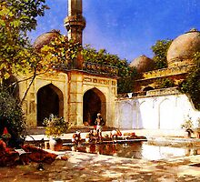 figures in the courtyard of a mosque by Adam Asar