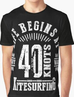 40 Knots Kitesurfing White Graphic Graphic T-Shirt