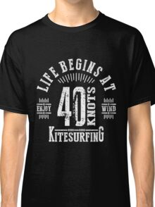 40 Knots Kitesurfing White Graphic Classic T-Shirt