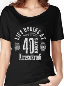 40 Knots Kitesurfing White Graphic Women's Relaxed Fit T-Shirt