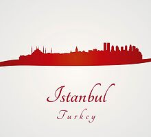 Istanbul skyline in red by paulrommer