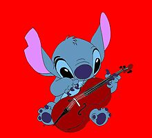 Stitch and a cello in red  by eleanor89