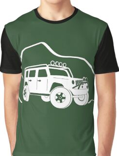 Jeep Wrangler JK With Mountain Background Tee / Sticker - White Graphic T-Shirt