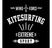 Wind Force Kitesurfing White Graphic Photographic Print