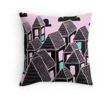 Pink city print Throw Pillow