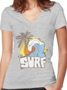 Retro Surf T-Shirt Design Women's Fitted V-Neck T-Shirt