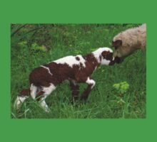 Cute Brown and White Lamb with Ewe Baby Tee