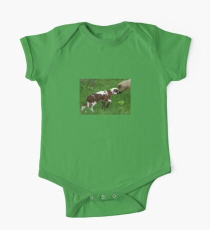 Cute Brown and White Lamb with Ewe One Piece - Short Sleeve