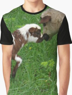 Cute Brown and White Lamb with Ewe Graphic T-Shirt