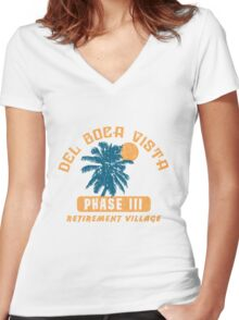 Del Boca Vista Retirement Village Women's Fitted V-Neck T-Shirt