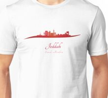 Jeddah skyline in red and gray background Unisex T-Shirt