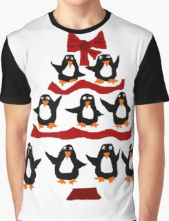 Cool Funny Penguin Christmas Tree Graphic T-Shirt