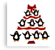 Cool Funny Penguin Christmas Tree Canvas Print