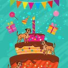 Border Terrier Dog Birthday Card With Giant Cake by Moonlake