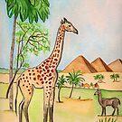 A Giraffe by the Pyramids by Anne Gitto