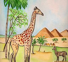 A Giraffe by the Pyramids by Anne Gitto