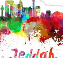 Jeddah skyline in watercolor Sticker