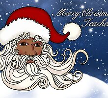 Teacher, African American Santa Christmas Greeting Card by Moonlake