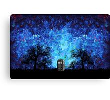 Lonely time travel phone box art painting Canvas Print