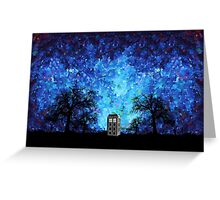 Lonely time travel phone box art painting Greeting Card