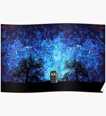 Lonely time travel phone box art painting Poster
