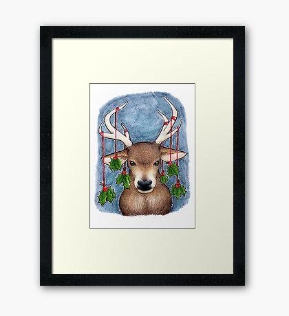 Deer with Holly Framed Print