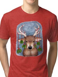 Deer with Holly Tri-blend T-Shirt