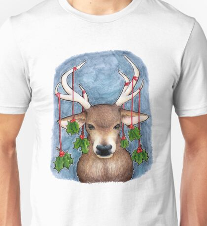 Deer with Holly Unisex T-Shirt