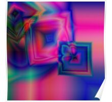 Multi-coloured abstract squares Poster