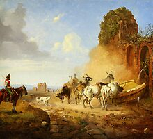 Heinrich Bürkel Cattle Watering at a Fountain on the Via Appia Antiqua by Adam Asar