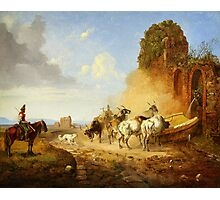 Heinrich Bürkel Cattle Watering at a Fountain on the Via Appia Antiqua Photographic Print