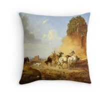 Heinrich Bürkel Cattle Watering at a Fountain on the Via Appia Antiqua Throw Pillow