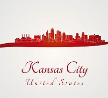 Kansas City skyline in red and gray background by paulrommer