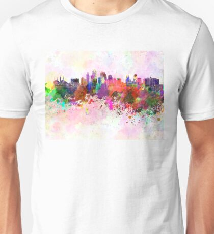 Kansas City skyline in watercolor background Unisex T-Shirt