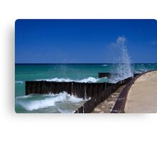Waves on Breakwalls, Lake Michigan Canvas Print
