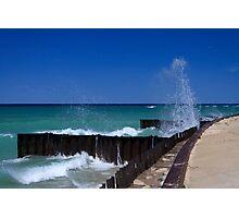 Waves on Breakwalls, Lake Michigan Photographic Print
