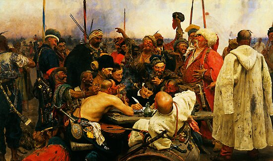 ilya repin 3 reply of the zaporozhian cossacks to sultan mehmed iv of ottoman empire1 by Adam Asar