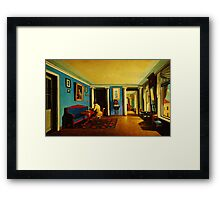 interiors reception room with columns on the mezzanine Framed Print
