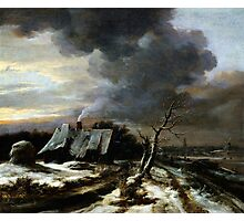 Jacob van Ruisdael  Winter Landscape with a view of the Amstel River and Amsterdam (the 1650s) Photographic Print