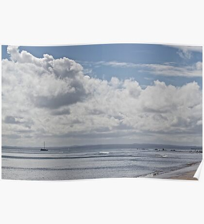 Clouds, sea, sky and sihouettes Poster