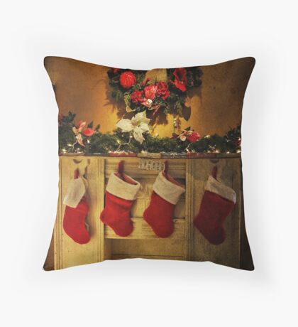 Hung by the chimney with care Throw Pillow