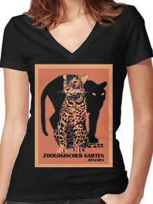 Retro vintage Munich Zoo big cats Women's Fitted V-Neck T-Shirt